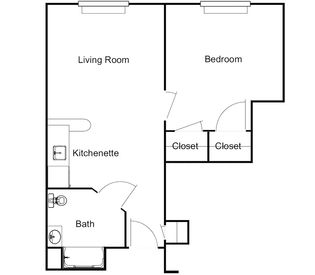 One Bedroom – 572 Sq. Ft.