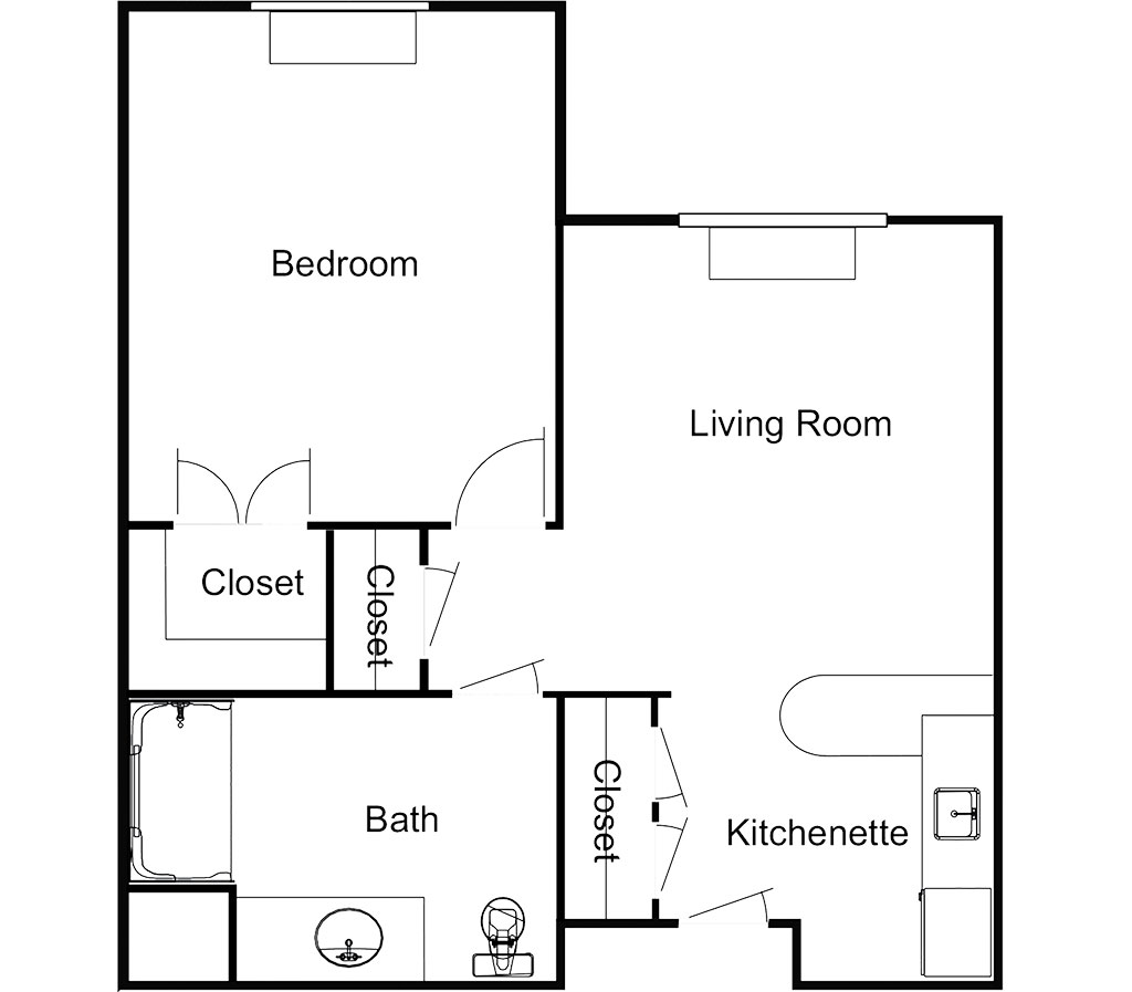 One Bedroom – 513 Sq. Ft.
